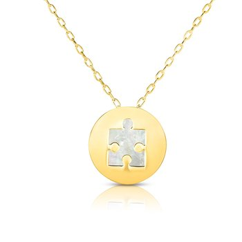 14K Gold Puzzle Piece Mother of Pearl Necklace