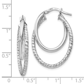 Leslie's Sterling Silver Polished D/C Oval Hoop Earrings