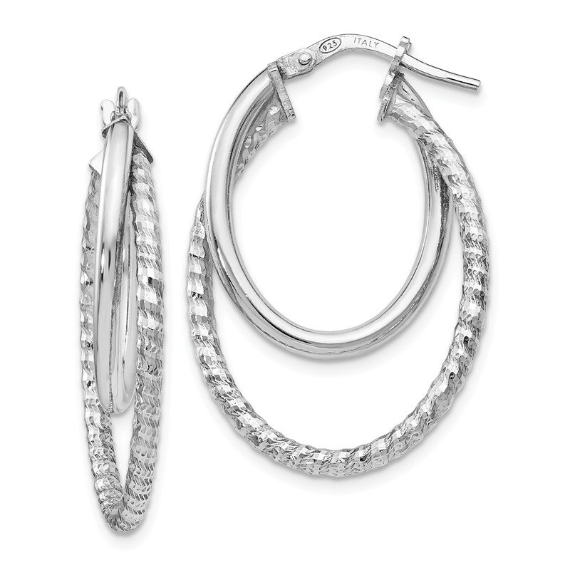 Leslie's Leslie's Sterling Silver Polished D/C Oval Hoop Earrings