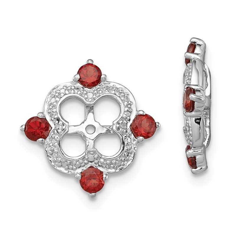 Arizona Diamond Center Collection Sterling Silver Rhodium Diam. & Garnet Earring Jacket