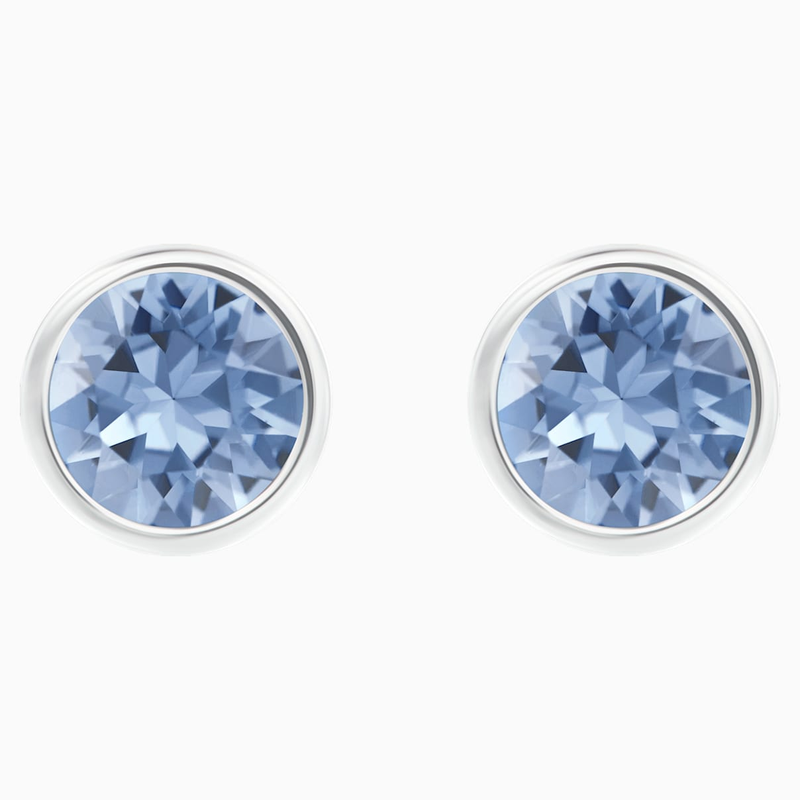 Swarovski Solitaire Pierced Earrings, Blue, Rhodium plated