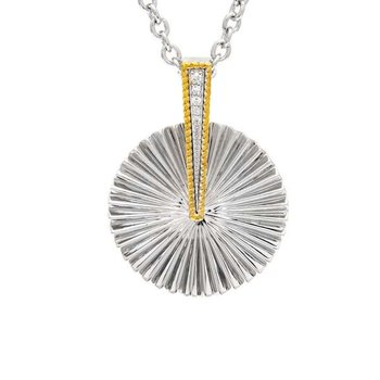 18kt & Sterling Silver Diamond Pendant with Chain