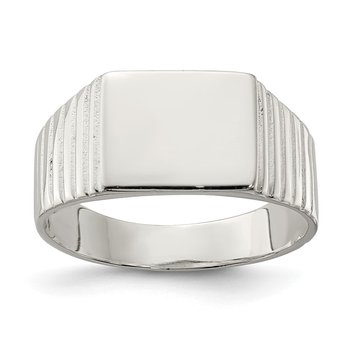 Sterling Silver 10x12mm Open Back Signet Ring