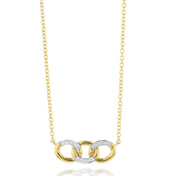 Yellow gold diamond mini triple Link necklace
