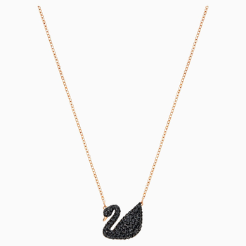 Swarovski Iconic Swan Pendant, Black, Rose-gold tone plated