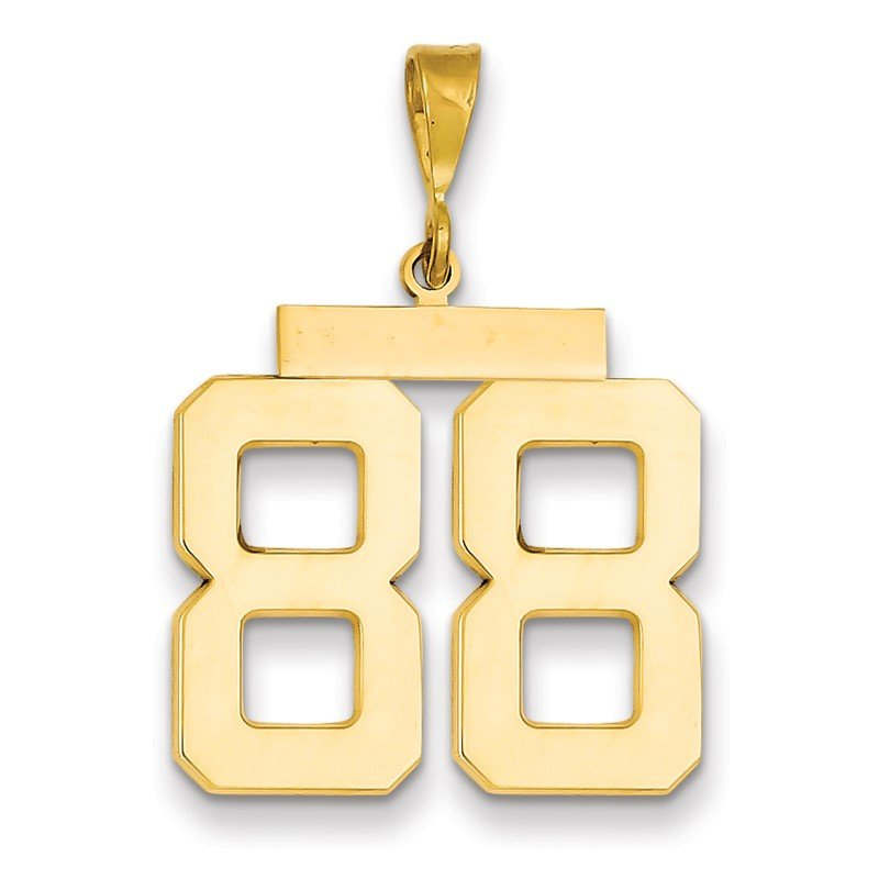 Quality Gold 14k Large Polished Number 88 Charm