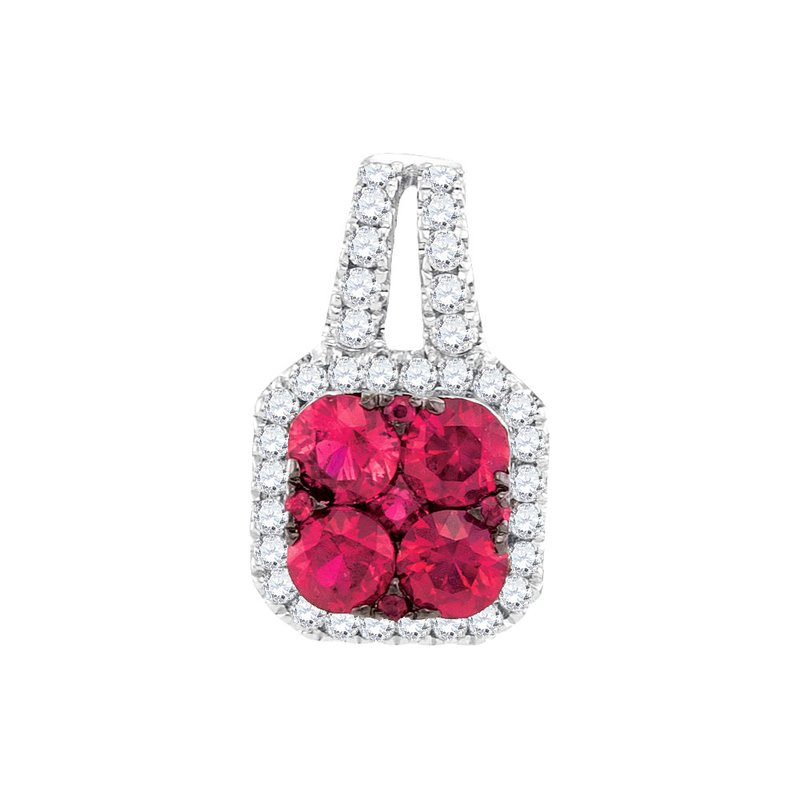 Gold-N-Diamonds, Inc. (Atlanta) 14kt White Gold Womens Round Ruby & Diamond Square Cluster Pendant 3/4 Cttw