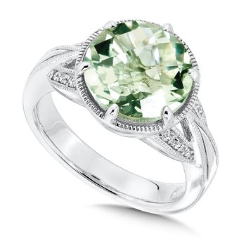 Sterling Silver Green Amethyst White Diamond Ring