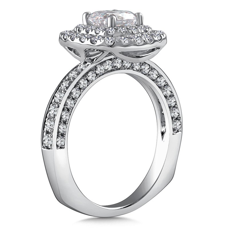 Diamond Halo Engagement Ring Mounting in 14K White Gold with Platinum Head (.93 ct. tw.)