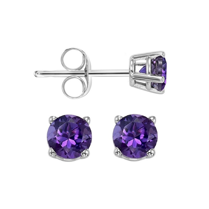 Gems One Four Prong Amethyst Studs in 14K White Gold (4 MM)