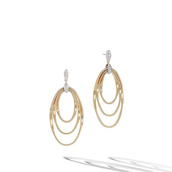 Marrakech Onde Yellow Gold and Diamond Concentric Earring