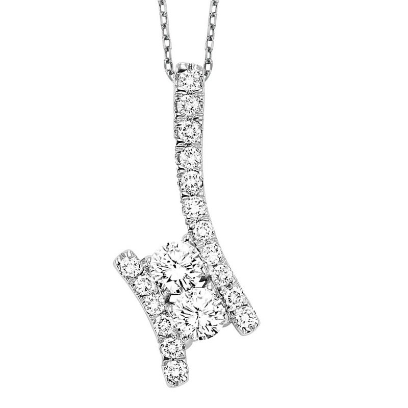 Twogether Silver Diamond Two Stone Pendant 1/4 ctw