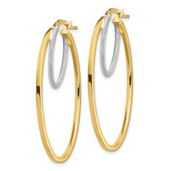 14k Two-tone Polished & Textured Double Oval Hoop Earrings