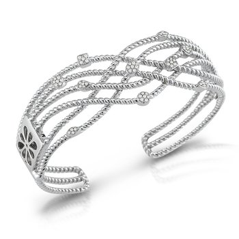 Sterling Silver Hinged Cuff Set With Diamonds