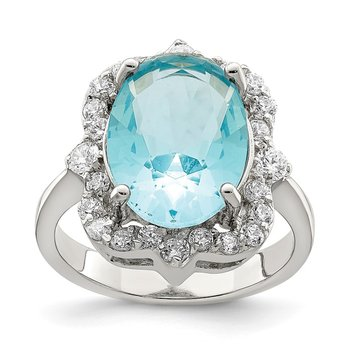 Sterling Silver Blue & Clear CZ Ring