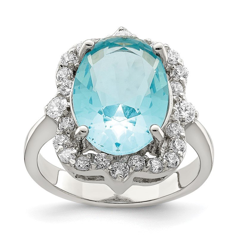 JC Sipe Essentials Sterling Silver Blue & Clear CZ Ring