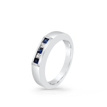 White Gold Diamond Natural Blue Sapphire Band