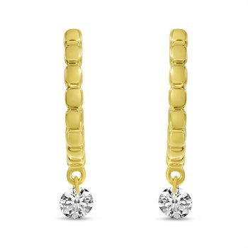 14K Yellow Gold Textured Diamond Huggie Earrings