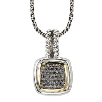 18K/SILVER WITH BLACK DIAMOND SQUARE PENDANT D1/7CTW