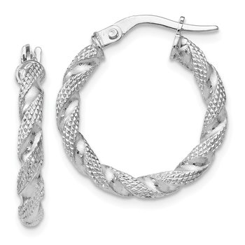 Leslie's 14k White Gold Textured Twisted Hoop Earrings