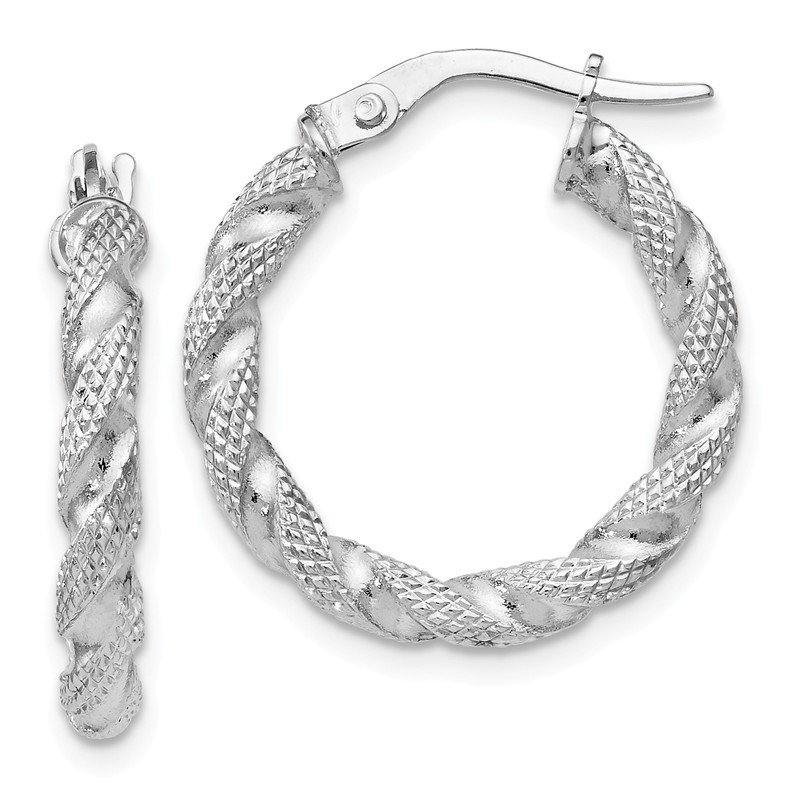 Leslie's Leslie's 14k White Gold Textured Twisted Hoop Earrings