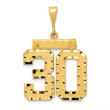 14k Large Diamond-cut Number 30 Charm