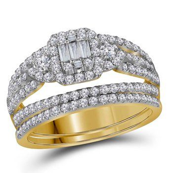 14kt Yellow Gold Womens Baguette Diamond Bridal Wedding Engagement Ring Band Set 1.00 Cttw