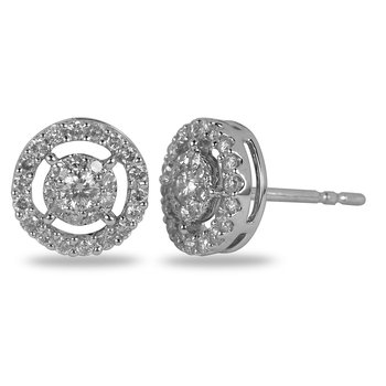 14K WG Diamond Cluster Galaxy Halo Earing 0.50 Ct Look