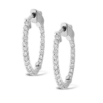 Diamond Inside Outside Hoops in 14k White Gold with 32 Diamonds weighing .84ct tw
