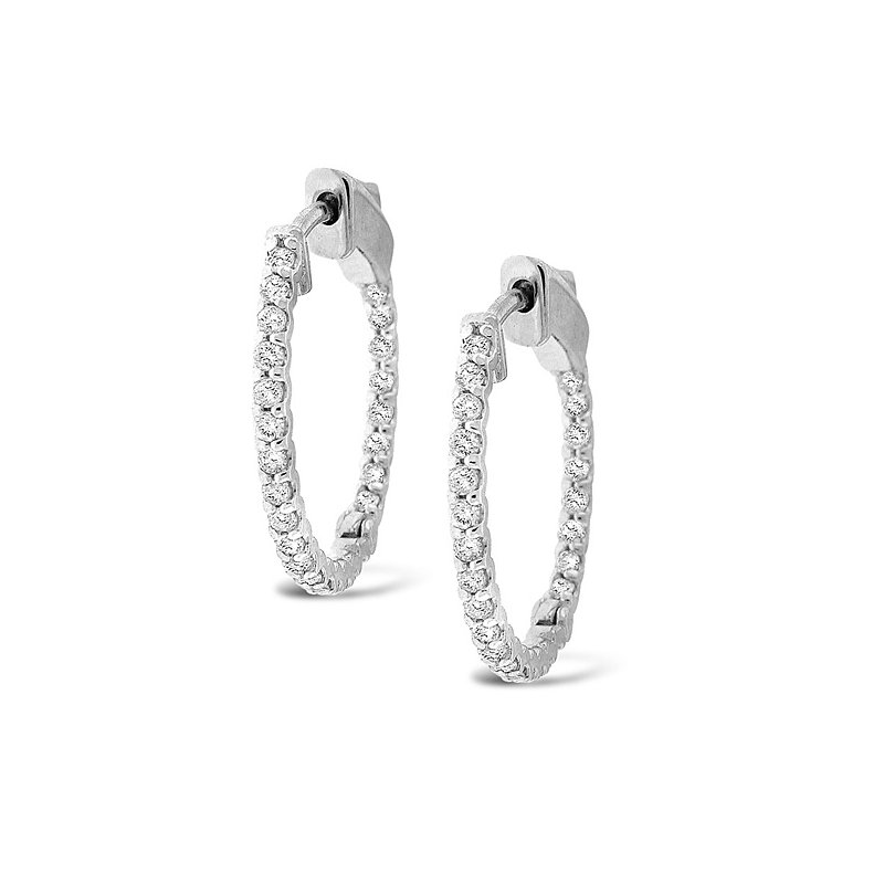 KC Designs Diamond Inside Outside Hoops in 14k White Gold with 32 Diamonds weighing .84ct tw