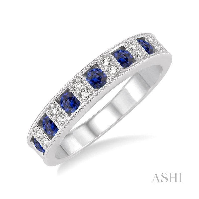 ASHI gemstone & diamond band