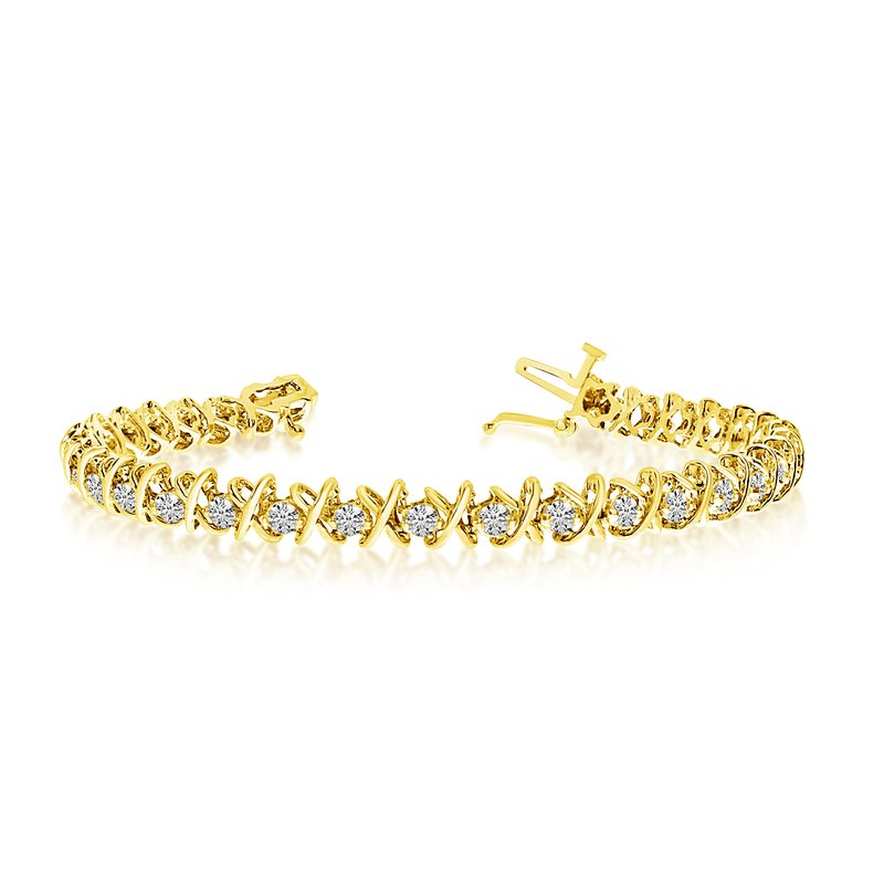 "Color Merchants 14K Yellow Gold ""X&O"" 4.00ctw Round Diamond Bracelet"