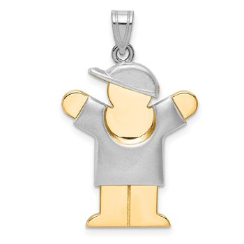 14k Two-Tone Puffed Boy with Hat on Right Engravable Charm