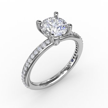 Classic Solitaire Engagement Ring With Diamond Band