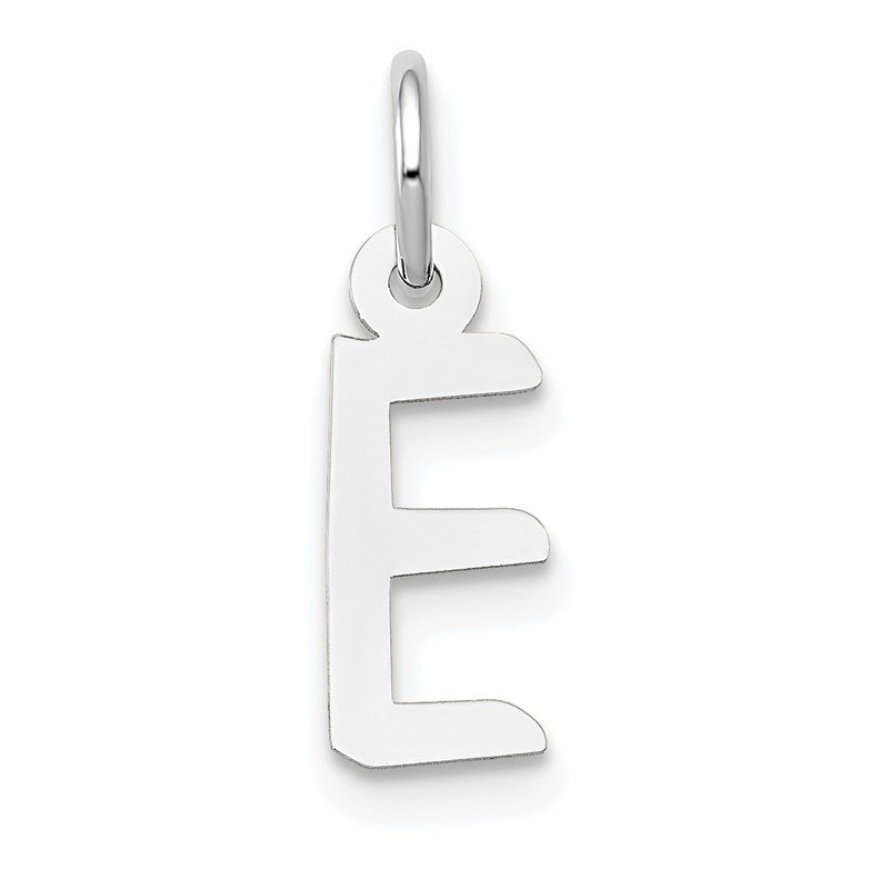 Quality Gold 14K White Gold Small Slanted Block Letter E Initial Charm