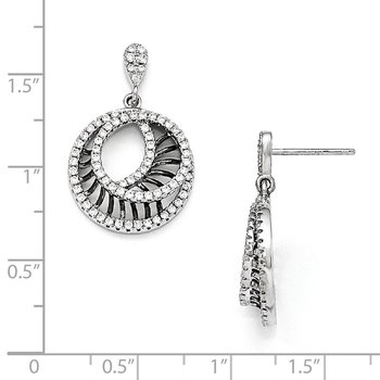 SS Rhodium-Plated Black CZ Brilliant Embers Polished Circle Earrings