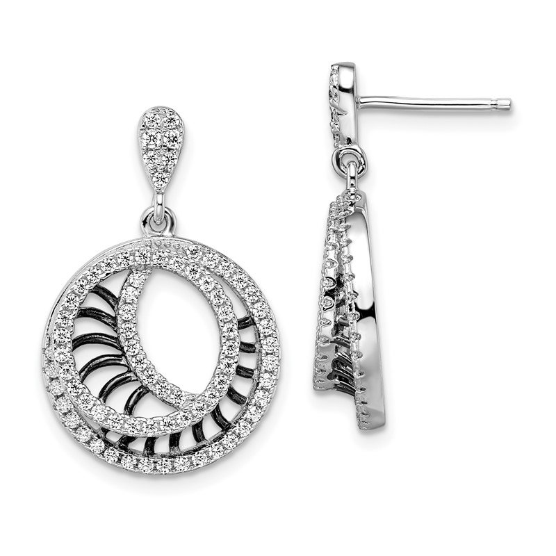J.F. Kruse Signature Collection SS Rhodium-Plated Black CZ Brilliant Embers Polished Circle Earrings