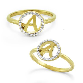 Gold and Diamond Halo Initial A Ring