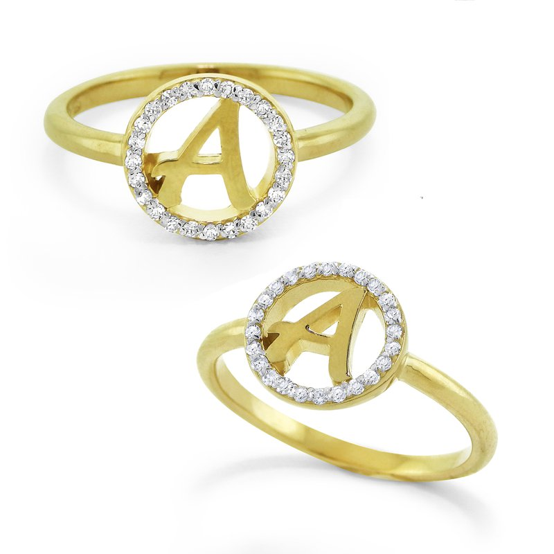 KC Designs Gold And Diamond Halo Initial A Ring