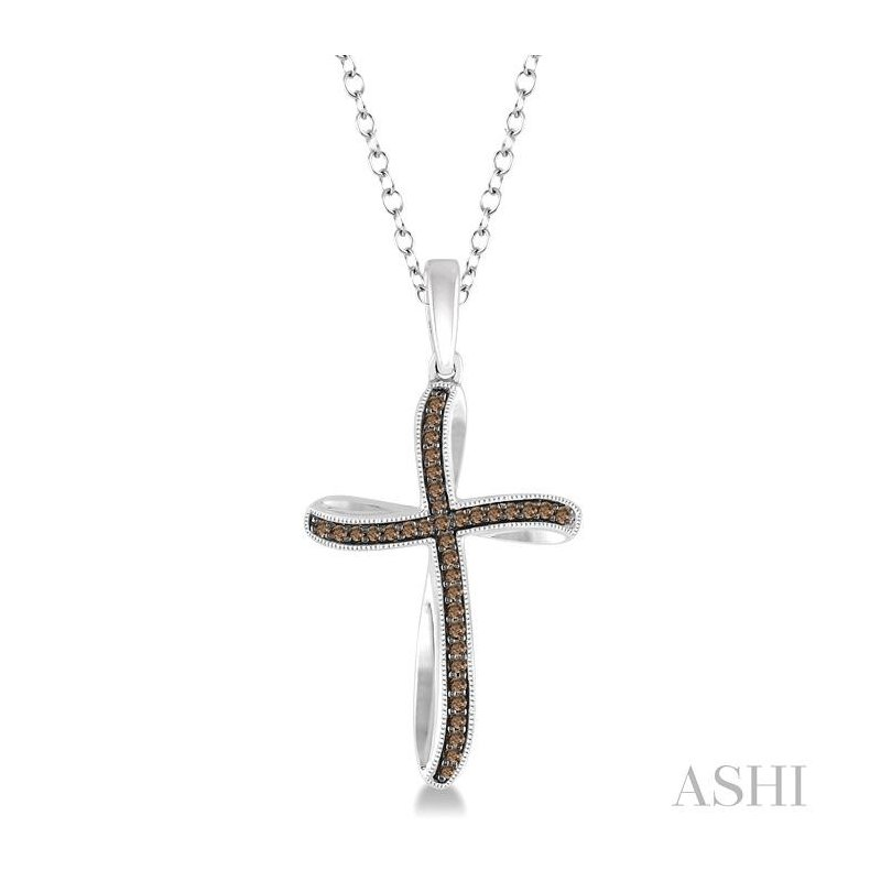 ASHI silver cross champagne diamond pendant
