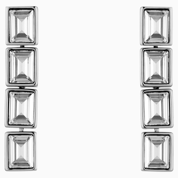 Fluid Drop Pierced Earrings, Gray, Palladium plated