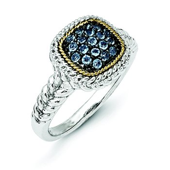 Sterling Silver w/14k and Black Rhodium Blue Topaz Ring