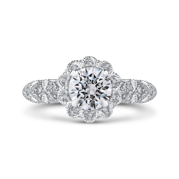 18K White Gold Round Cut Diamond Flower Halo Engagement Ring (Semi-Mount)