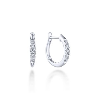 14K White Gold Classic Round 15mm Diamond Huggie Earrings