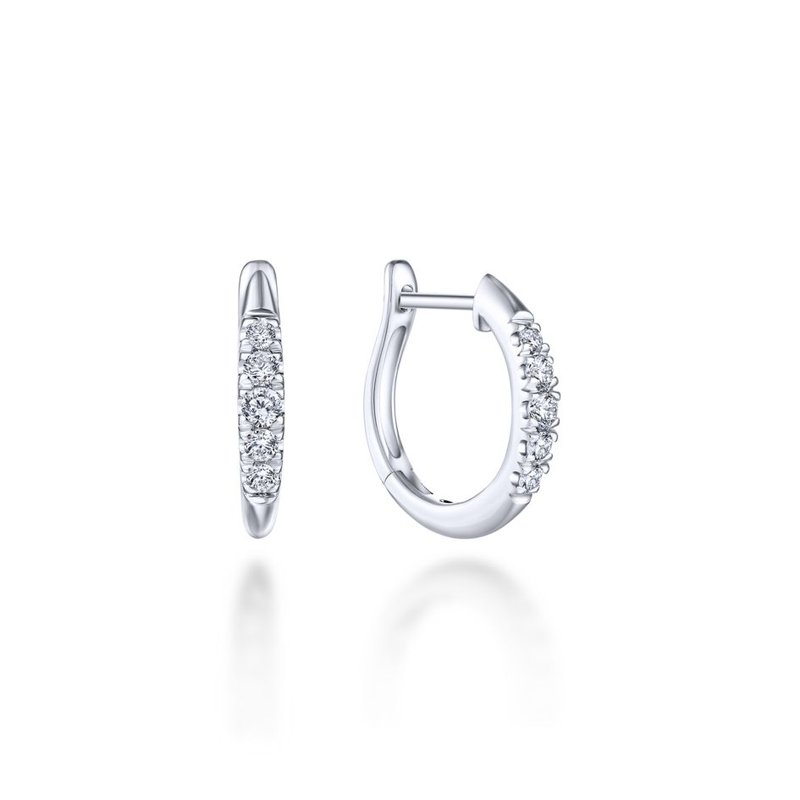 Gabriel Fashion 14K White Gold Classic Round 15mm Diamond Huggie Earrings