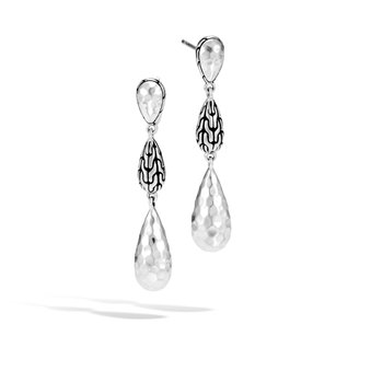 Classic Chain Drop Earring in Hammered Silver