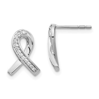 14k White Gold Diamond Awareness Ribbon Earrings