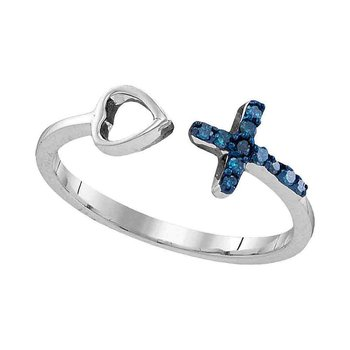 Sterling Silver Womens Round Blue Color Enhanced Diamond Cross Heart Bisected Band Ring 1/10 Cttw