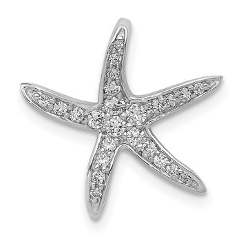 14k White Gold Diamond Starfish Chain Slide Pendant