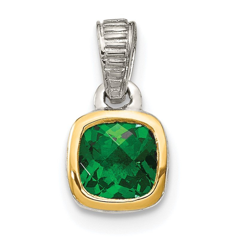 Quality Gold Sterling Silver w/ 14K Accent Created Emerald Pendant